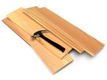 Houten planken en hamer op een witte vloer royalty-vrije illustratie