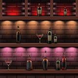 Houten planken met alcohol royalty-vrije illustratie