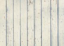 Houten plankomheining met oude dichte omhooggaand van de verf witte kleur Detaile Royalty-vrije Stock Foto's