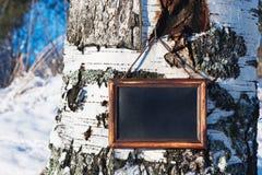 Houten plaque met een zwarte achtergrond voor de tekst Royalty-vrije Stock Afbeeldingen
