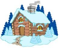 Houten plattelandshuisje in de winterlandschap Stock Afbeelding