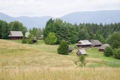 Houten plattelandshuisje in dorp, Slowakije Stock Foto