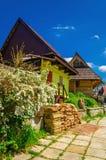 Houten plattelandshuisjes in het traditionele dorp van Slowakije Stock Afbeeldingen