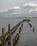 Houten polen op de Baltische kust royalty-vrije stock foto