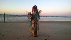 Houten polen op de overzeese kust Royalty-vrije Stock Afbeeldingen