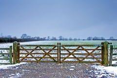 Houten poort naast een winters gebied met zwarte schapen Stock Foto's
