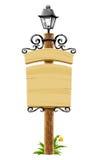 Houten post met uithangbord en lantaarn Royalty-vrije Stock Foto's