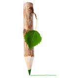 Houten potlood met blad stock afbeeldingen