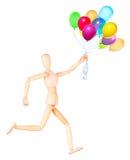 Houten Proef geïsoleerde holdings vliegende ballons Stock Afbeeldingen