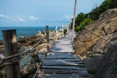 Houten Promenade in Haad Rin, Koh Pha Ngan royalty-vrije stock fotografie