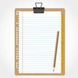 Houten raad en document blad Stock Afbeelding