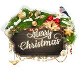 Houten Raad met Kerstmisattributen Eps 10 Stock Foto's