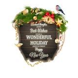 Houten Raad met Kerstmisattributen Eps 10 Royalty-vrije Stock Afbeeldingen