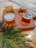 Houten raad met vier glazen bier stock foto