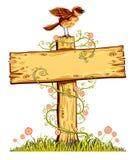 Houten raad met vogel, bloemen en gras. Royalty-vrije Stock Afbeeldingen
