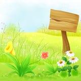 Houten Raad op de Mooie Illustratie van het Heuvelmalplaatje Royalty-vrije Stock Foto