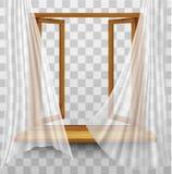 Houten raamkozijn met gordijnen royalty-vrije illustratie