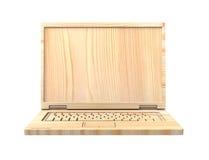 Houten rekupereerbare die laptop over wit wordt geïsoleerd Stock Foto