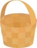 Houten rieten bruine lege die mand voor picknick op wit wordt geïsoleerd Stock Foto's
