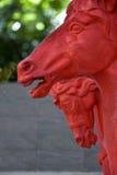 Houten rood paard Royalty-vrije Stock Foto's