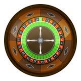 Houten roulettewiel in hoogste geïsoleerde meningsvector Royalty-vrije Stock Afbeeldingen