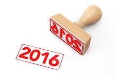 Houten Rubberzegel met 2016 Nieuwjaarteken Stock Foto