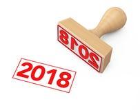 Houten Rubberzegel met 2018 Nieuwjaarteken het 3d teruggeven Stock Foto's
