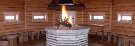 Houten sauna Stock Afbeeldingen