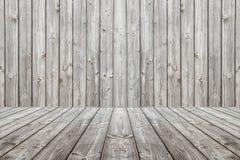 Houten scèneachtergrond en vloer Doos houten grijze raad Stock Afbeeldingen