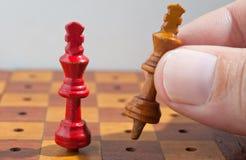 Houten schaakkoningen Stock Foto
