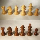 Houten schaakreeks Royalty-vrije Stock Afbeeldingen