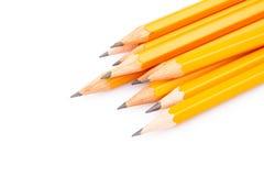 Houten scherpe potloden Stock Afbeelding