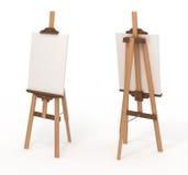 Houten schildersezel met leeg canvas,   Stock Afbeeldingen