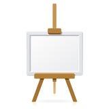 Houten schildersezel met leeg canvas. Vector. Royalty-vrije Stock Afbeeldingen