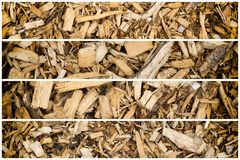Houten Schors Chip Mulch Collection royalty-vrije stock foto