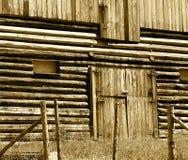 Houten Schuur met Gesloten Deur in Sepia Stock Afbeeldingen