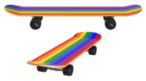 Houten skateboard met regenboogkleuring en zwarte wielen Stock Fotografie