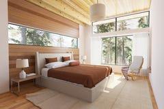 Houten slaapkamerbinnenland Royalty-vrije Stock Afbeeldingen