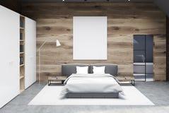 Houten slaapkamerbinnenland, affiche, garderobe royalty-vrije illustratie