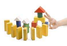 Houten speelgoed voor het gebouw Royalty-vrije Stock Afbeeldingen