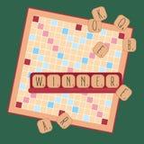 Houten spel Woorden van tegelbrieven winnaar Stock Fotografie