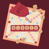 Houten spel Woorden van tegelbrieven winnaar Stock Afbeelding