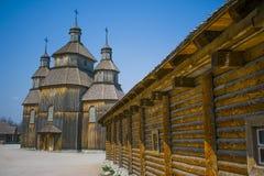 Houten stad in de Oekraïne stock afbeeldingen