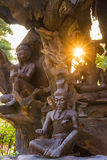 Houten standbeelden in oud Siam Royalty-vrije Stock Foto