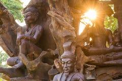 Houten standbeelden in oud Siam, Thailand Royalty-vrije Stock Foto