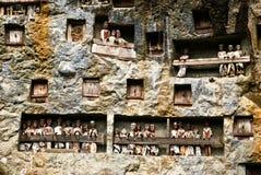 Tau tau standbeelden in Lemo, Indonesië stock foto's