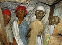 Houten standbeelden van Tau Tau in TampangAllo-begrafenishol in Tana Toraja indonesië royalty-vrije stock afbeelding