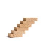 Houten stappen, uitstekende trap, trap het uitgaan zachte nadruk witte achtergrond Exemplaartekst Royalty-vrije Stock Fotografie