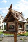 Houten starling huis. stock afbeelding
