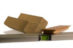 Houten staven voor meubilair met niveau Stock Foto's